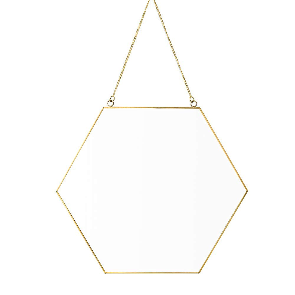 Affomo Hanging Wall Mirror Geometric Hexagon Small Wall Decor Gold Mirror with Chain for Home Decor Bathroom Bedroom Living Room