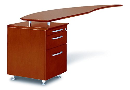 Mayline Napoli Series Curved Desk Return with Pencil with Box with File Pedestal (Left), Sierra Cherry Veneer