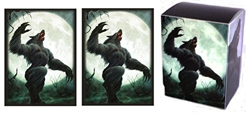FULL MOON - 1 Deck Box + 100 Shuffle-Tech GLOSS Finish Werewolf Sleeves by MAX PRO (fits Magic / MTG, Pokemon Cards) ... by MAX PRO (Max Pro Deck Box)