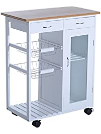 Homcom 34 Rolling Kitchen Trolley Serving Cart With Drawers And Cabinet White