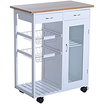 rolling kitchen cabinet. homcom 34\u201d rolling kitchen trolley serving cart with drawers and cabinet - white