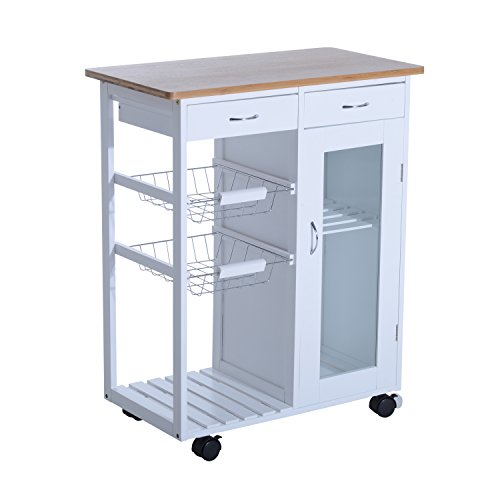 "HomCom 34"" Rolling Kitchen Trolley Serving Cart with Drawers and Cabinet - White"