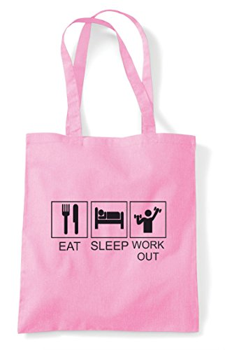 Funny Sleep Bag Eat Hobby Pink Workout Activity Shopper Tiles Light Tote pwdtqaCxt