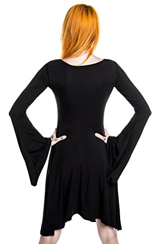 Sleeve Killstar Angel Dress Midi Nocturne Gothic Langarm Schwarz Damen Kleid rfTBqrY