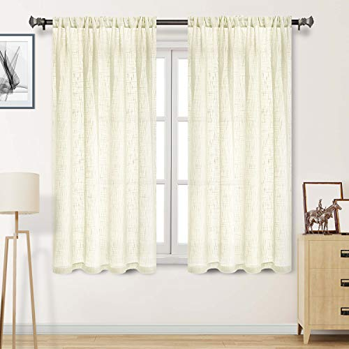 DWCN Faux Linen Ivory Sheer Curtains - Rod Pocket Semi Voile Window Curtain Panels Living Room Curtains, Set of 2 Window Curtain Panels, 52 x 63 Inches Long (Curtain Ivory Pole)