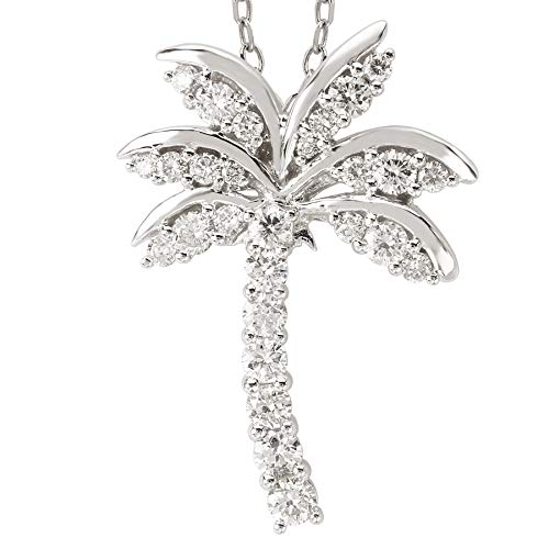 14k White Gold Over .925 Silver Large Palm Tree Pendant with CZs (1.05ctw) ()
