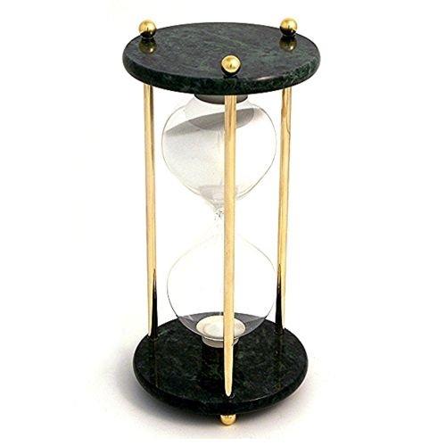 Bey Berk Brass / Green Marble 60 Minute Sand Timer - Whit...