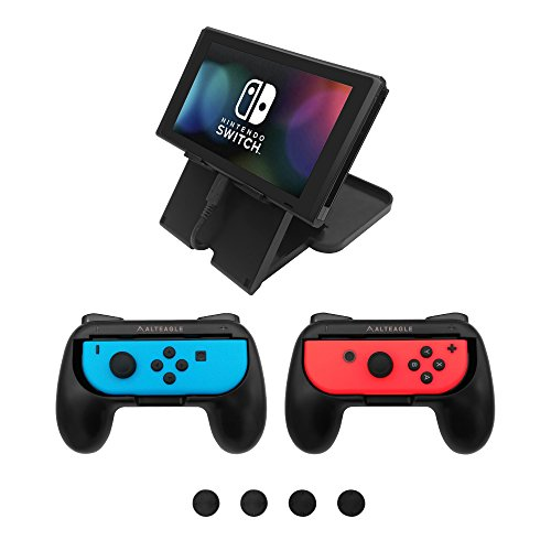 Alteagle Joy-Con Grip Kit for Nintendo Switch, JoyCon Grips Handle(2-Pack) & Foldable Playstand with 4 Thumb Grips for Switch (Playstands 2)