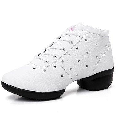 Botas de mujer Comfort Polipiel Primavera Verano Otoño Invierno vestir casual al aire libre caminandoBotas de moda Polka Dot Chunky talón negro blanco White