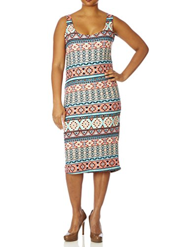 [77623XR-CRL/MNT-4X] Love Collection Printed Dress for Women – Junior Plus Size, Tank Style,