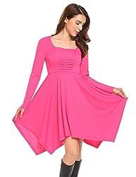 Se Miu Womens Asymmetrical Hem Long Sleeve Fit Casual Swing T Shirt Tunic Dress Rose
