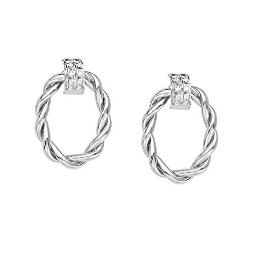 ed Oval Doorknocker Hoop Post Earrings ()