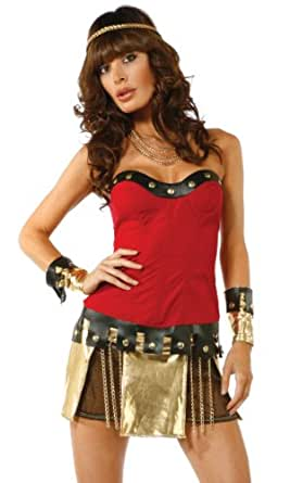 Forplay Women's Ready For War Sexy Warrior Costume Set, Red, X-Small/Small