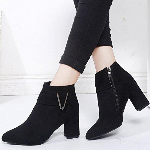 Boucle Chaussures Talons Martin V À Bottes Botte Bottes Femmes Nues Khskx pointus Talon Trente Ceinture sept Mot Courte OxSqWn54Bw