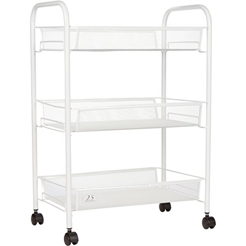 3 Tier Utility Cart, Kitchen Storage with Rolling Wheels, Metal Mesh Wire Basket Trolley, White - Mobile Workspace Cart