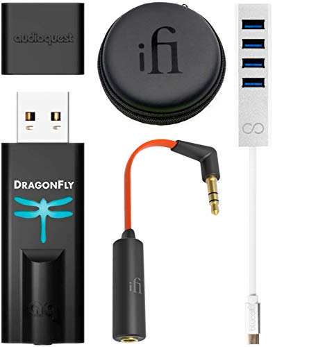 Buddy Audio Preamp - AudioQuest Dragonfly Black USB DAC/Headphone Amplifier/Preamp Bundle with iFi Ear Buddy Attenuator Cable for Headphones/in-Ear Monitors and Blucoil Mini USB Type-C Hub with 4 USB Ports