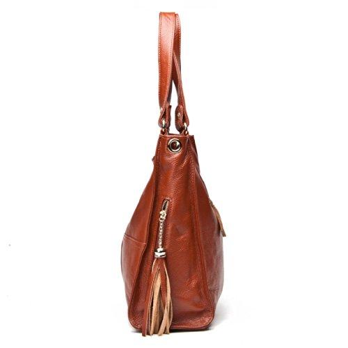 Artone Damen Echtes Leder Quaste Handtasche Tragetasche Schultertaschen 2 Weg Braun Braun