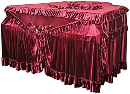 グランドピアノカバーのフルカバープレミアムアイスベルベット生地ピアノダストカバー手作りのプリーツトリムダイヤモンドの装飾・スタンダード・ピアノカバー布、カスタムサイズ (Color : Red, Size : Piano cover(customize))