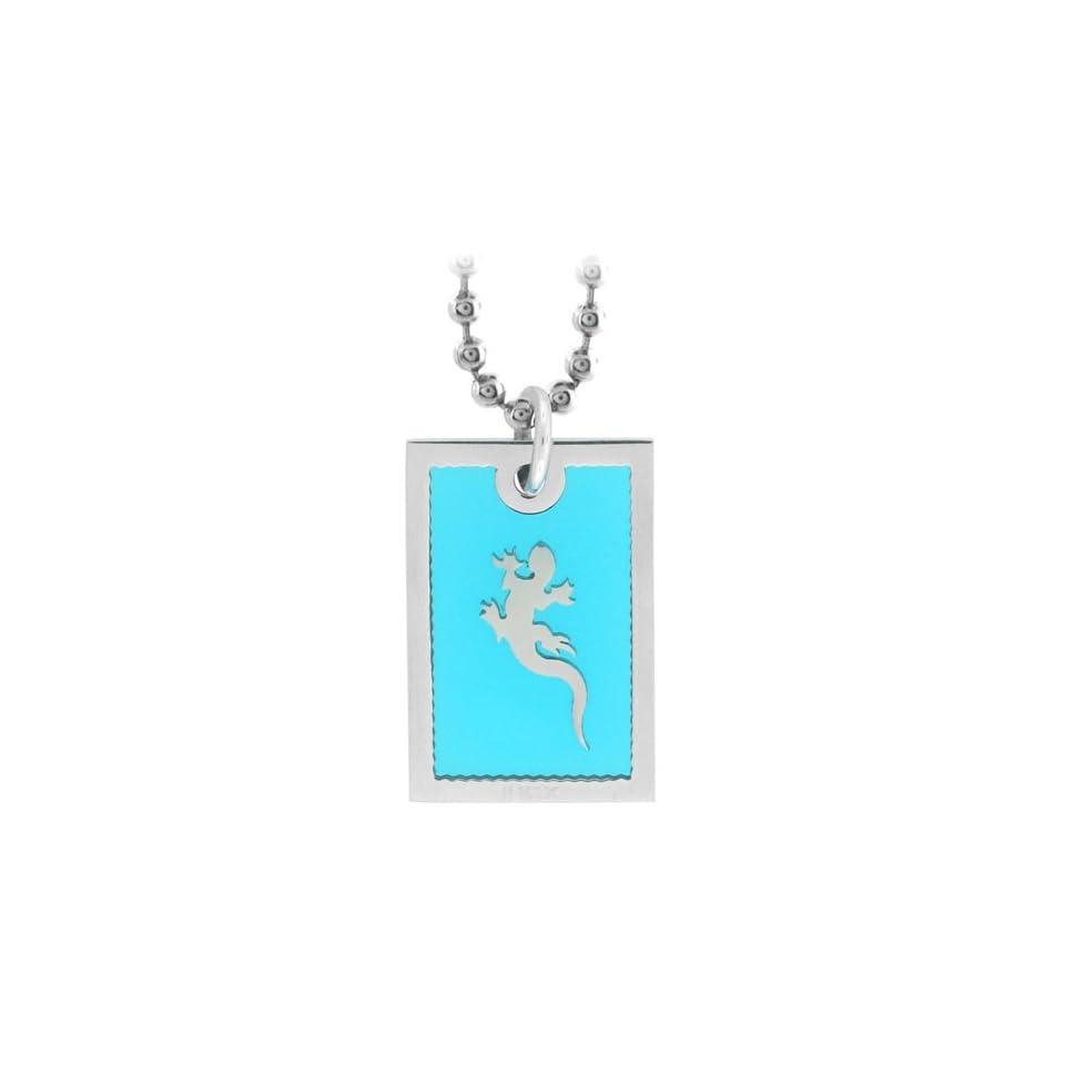 Inox Jewelry Leaping Lizard Glass Backdrop Pendant Necklace