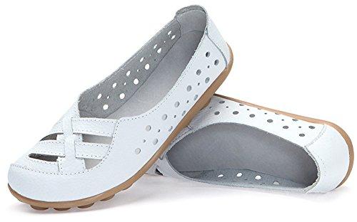 Fangsto Womens In Pelle Mocassini Sandalo Flat Slip-on Bianco