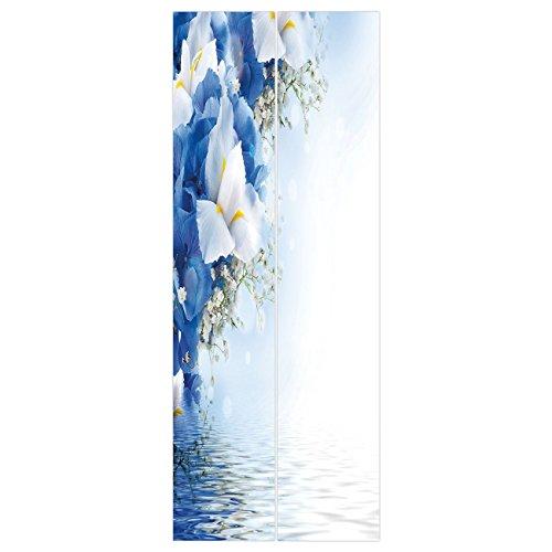 Hydrangea Dreamy (3d Door Wall Mural Wallpaper Stickers [ Light Blue,Blue Hydrangeas and White Irises over The Sea Romantic Bouquet Dreamy,Blue Light Blue White ] Mural Door Wall Stickers Wallpaper Mural DIY Home Decor)