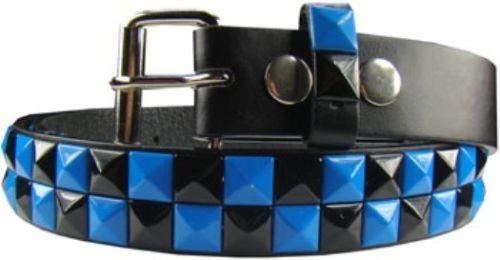 Kids Children 2 Row Metal Pyramid Studded Leather Belt Punk Rock S/M/L/XL (Blue/Black Studs, ()