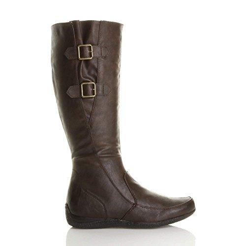 Ajvani Womens Ladies Low Heel Concealed Wedge Winter Buckle Curvy Stretch Zip Calf Boots Size Brown PWvo7mu8ns