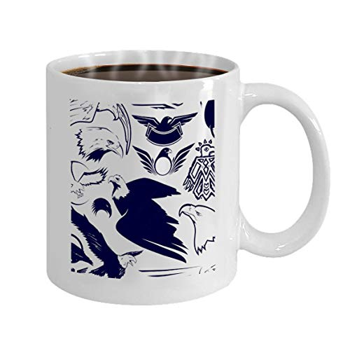 Gift Coffee Mugs Tea Cups White Ceramic 11 Oz eagle collection clip art eagles Character ()