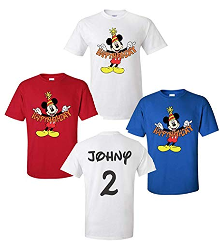 Happy Birthday Mickey Mouse Disney T-Shirts Front + Back Add Name & Age! (2T, Red)]()