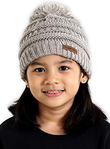 Brook + Bay Kids Pom Pom Beanie - Fits Girls, Boys, Babies, Toddlers & Children Ages 2 & Up - Thick, Soft & Warm Cable Knit Hats - Cozy Kids ()
