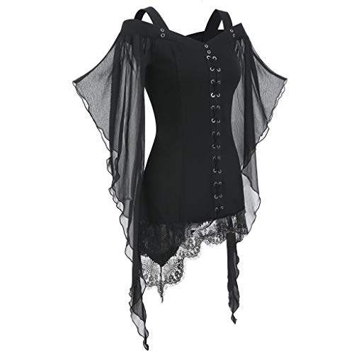 Women's Casual Tops Cold Shoulder Gothic Criss Cross Batwing Sleeve Tops Loose Bandages Lace Patchwork T-Shirt Black