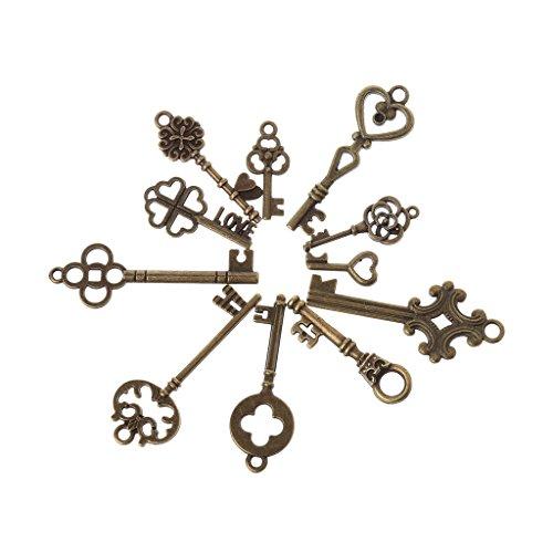 Sixsons 11 Pcs Antique Vintage Old Look Skeleton Key Pendant Heart Bow Lock Steampunk