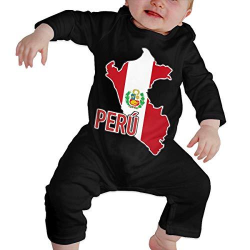 U99oi-9 Long Sleeve Cotton Rompers for Unisex Baby, Cute Peruvian Pride Map of Peru Crawler Black -