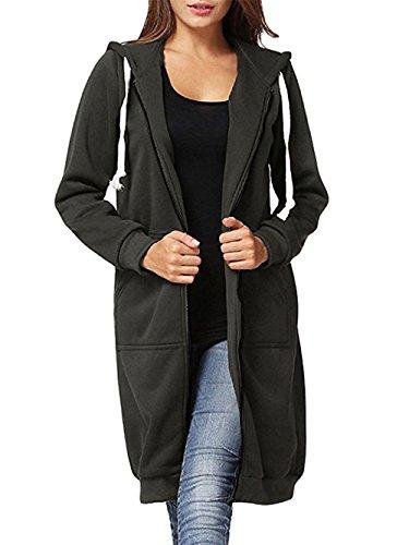al Plus Size Full Zip up Long Fleece Hoodies Tunic Sweatshirt Outerwear Jacket With Kangaroo Pockets,Dark Grey,XX-Large ()