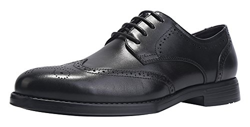 ELANROMAN Black Oxfords Men Dress Shoes Wingtip Brogue Handcrafted Genuine Leather Lace up Silk Flower Derby Shoe US 10 EU 44 Foot Length 298mm ()