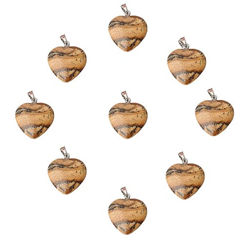 Picture Jasper Necklace (9 Pcs Heart Shape Charm 16mm Loose Pendants Bulk Supply Natural Picture Jasper Gemstone Pendant Beads for DIY Necklace Bracelet Earrings Jewelry Making)