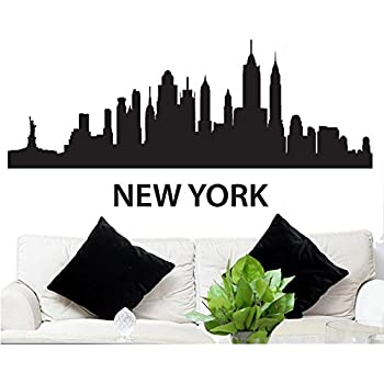 Wall decal sticker new york skyline 22 5 tall 48 wide in black fgd brand
