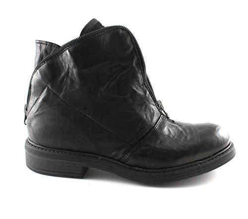 DIVINA FOLLIE 14512 botas de cuero con cremallera frontal negro mujeres Nero