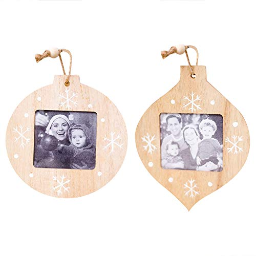 Light-Ren 1 Pc Innovative Christmas Decorations Christmas DIY Wooden Photo Frame Pendant Christmas Ornaments for Party Office Decor -