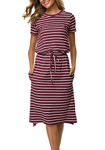 Simier Fariry Women's Modest Work Casual Midi Dress with Pockets