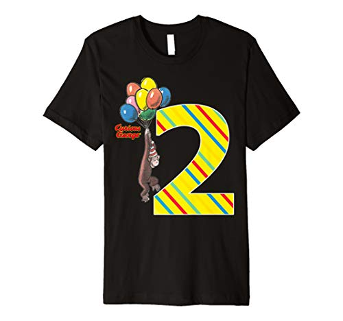 - Curious George Vintage 2nd Birthday Balloons Premium T-Shirt