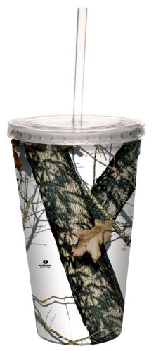 Tree-Free Greetings 80614 Winter by Mossy Oak Camo Artful Traveler Double-Walled Acrylic Cool Cup with Reusable Straw, 16-Ounce