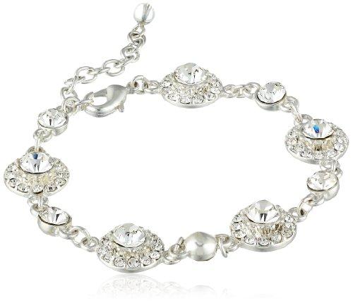 "Napier ""Giftable Silver-Tone Crystal Circle Bracelet"