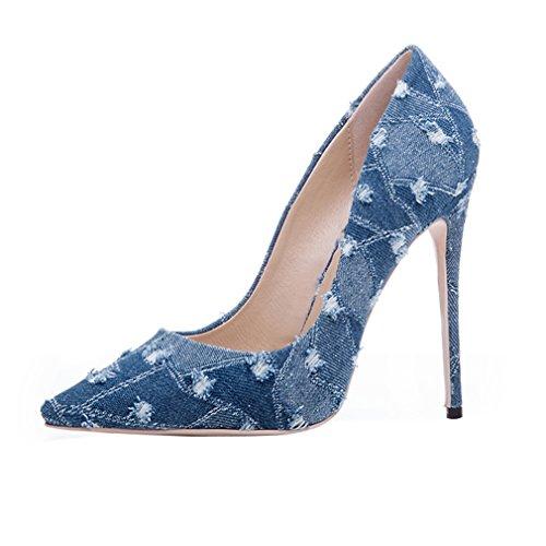 ENMAYER Womens High Heels Spitz Zehe Schuhe Slip-on Court Party Kleid Pumps Light Blue