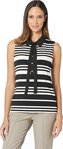 Tommy Hilfiger Women's Stripe Collared Mixed Media Top Black/Ivory -