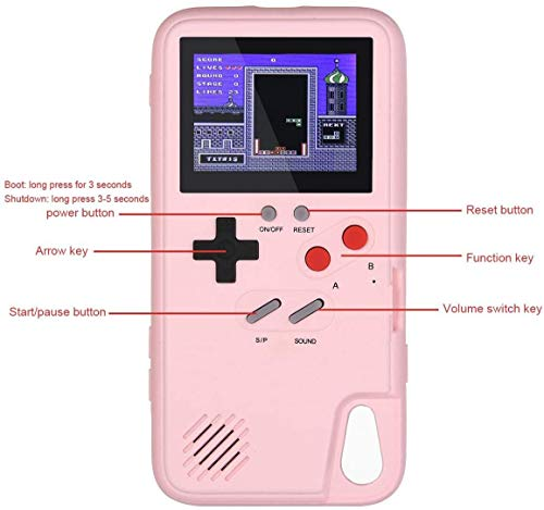 Bangting Handheld Game Console Phone Case With 2 Game Screen Protector Retro 3d Phone Protective Case With 36 Classic Game Video Game Phone Case Compatible With Iphone Pink Iphone Xs
