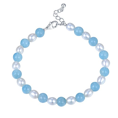 MBLife 925 Sterling Silver White Freshwater Cultured Pearl Mixed with Aquamarine Strand Bracelet (6
