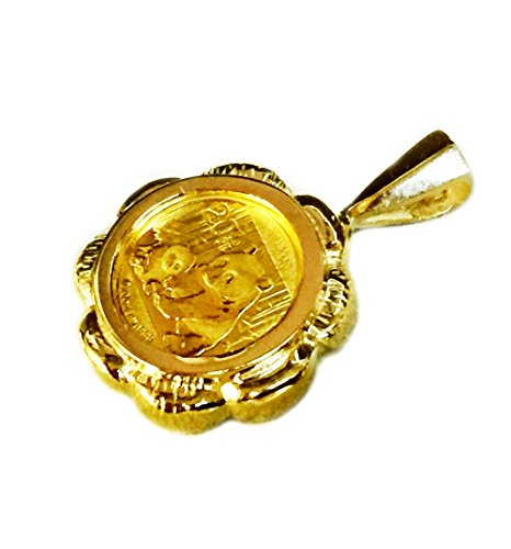 (24K Chinese Panda Bear Coin in 14K Solid Yellow Gold Coin Charm Pendant-Random Year Coin)