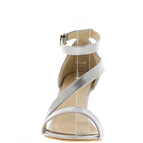 Sandalias de grandes tamaño de plata en el tacón de 9,5 cm