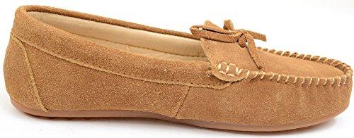 Damer Lyx Mocka Utomhus Mockasiner / Loafers Med Gummisula Av Bushga Kastanj